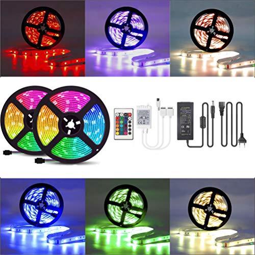 LED-Streifen-Set, LED Strip 10M RGB Licht Beleuchtung mit 300 LEDs, Komplettsets inkl Fernbedienung, Eckverbinder, Verbindungskabel, Dimmbar Selbstklebend für Innen Heim Küche Kinderzimmer Dekoration -