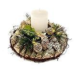 Small-Preis Adventsgesteck aus Birke mit Echtwachskerze und 10 er LED Lichterkette 271