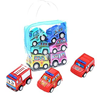 AmaMary Pull Back Cars for Toddlers 6 Pack MINI Pull Back and Go Car Toy Play Set Include City car Fire truck Engineering vehicle (City car)
