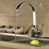Auralum Low Pressure Kitchen Sink Taps Mixer Single Lever Kitchen Faucet Brass Chrome Finish