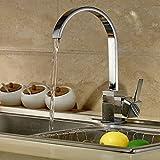 Auralum360° Niederdruck Wasserhahn mit Groß C Form Waschtischarmatur Einhebel Wasserfall Einhandmischer für Spüle Küche