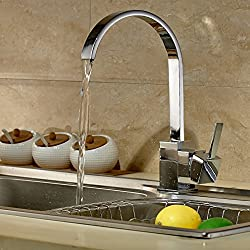 Auralum®360° Niederdruck Wasserhahn mit Groß C Form Waschtischarmatur Einhebel Wasserfall Einhandmischer für Spüle Küche