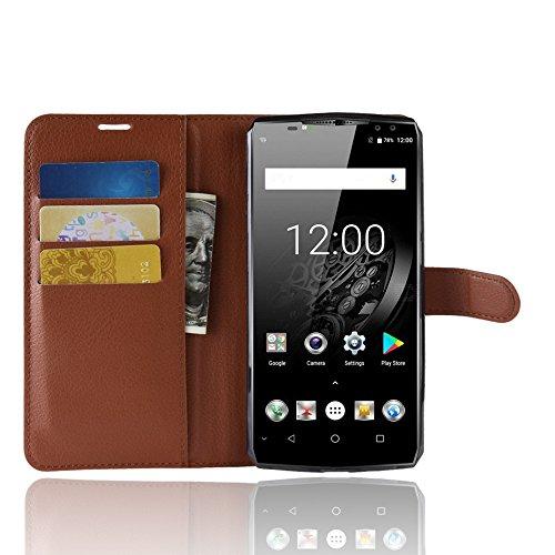 SPAK Oukitel K10 Wallet Hülle,Premium Leder Geldbörse Flip Schutzhülle Cover für Oukitel K10 (Braun)