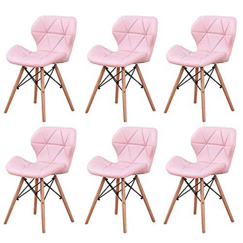 LSRRYD 6er-Set Kunstleder-Esszimmerstühlen - Farben zur Auswahl,für Wohnzimmer Schreibtisch Terrasse Büro Küche Lounge Cafeteria und Frisierkommode (Color : Pink) -