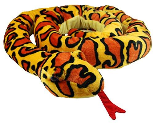 My-goodbuy24 XXL Schlange super weich 254 cm Plüschtier Kuscheltier Stofftier Plüsch Boa Cobra Python Anakonda Spielzeug auch als Zugluftstopper geeignet - Gelb -