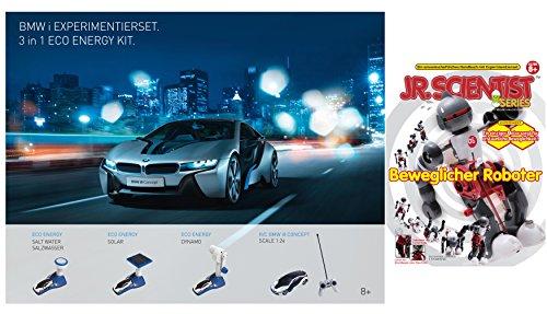 EDU Toys BMW i8 3in1 Experimentierset Plus 1:24 RC i8 Concept , mit: Powerzelle, Ladestation, Solarmodul, Dynamomodul, Salzwassermodul mit GK013 Robotertechnik Selbstbausatz eines Roboters