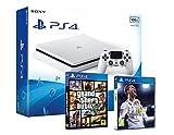 PS4 Slim 500Gb Blanca Playstation 4 Consola - Pack 2 Juegos - FIFA 18 + GTA V