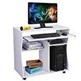 Dripex Modern Computer Desk Study Workstation with Keyboard Tray for Home and Office with Sliding Keyboard and 2 Shelves, white