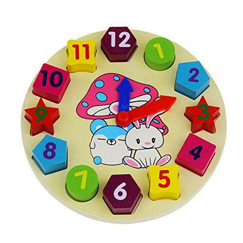 Balai Hölzern Form Puzzle Uhr Puzzle,Uhr kognitive Bildung Spielzeug