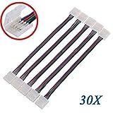 TOOGOO(R) 30X LED-Leiterplatte-Stecker-Adapter 4 Pin fuer 5050 und Monocolor RGB-Streifen-10mm breit