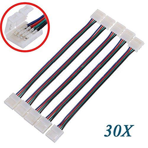SODIAL(R) 30X LED PCB Adaptador de conector 4 Pin para 5050 Monocolor y RGB de Gaza de 10 mm de ancho