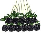 JUSTOYOU Lot de 10 Roses artificielles en Soie pour Bouquets de Mariage Noir