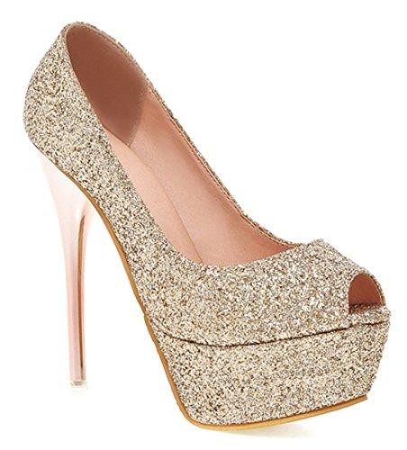 YE Damen Stiletto High Heels Peeptoe Plateau Glitzer Pailletten Pumps Party Schuhe Gold