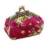 Vovotrade® Femmes Dame Rétro Vintage Fleur Petit portefeuille Fermoir sac à Main Embrayage (Rose vif)