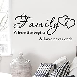 SMILEQ Quote Wall Stickers Removable Art Vinyl Mural Home DIY Decal Family Where Life Beging Love Never Ends Room Decor (A)