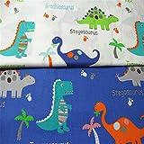 Fuya-Dinosaurier-Pflicktuch aus Baumwolle, handgefertigt, optimal für Stepparbeiten, Baby- und Kinder-Kleidung, 160cm x 100cm, 2 Stück