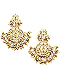 Mehrunnisa Traditional Gold Tone Kundan & Gold Beads Earrings With Free Kan Chain For Women (JWL1473)