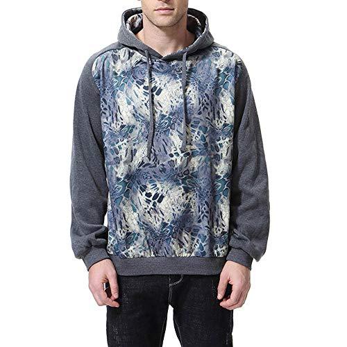 TEBAISE Herren 3D Druck Kapuzenpullover Sweatshirt Weihnachten Oktoberfest Langarm Top Shirt Herbst Hoodie(Dunkel grau,EU-56/CN-L)