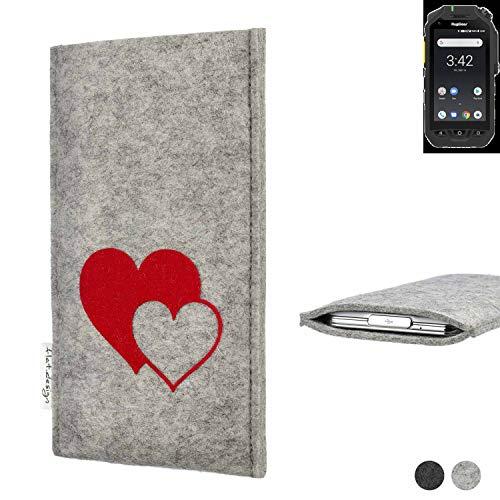 flat.design Handy Hülle für Ruggear RG725 Faro mit Herzen Filz Schutz Tasche Case Sleeve handgemacht