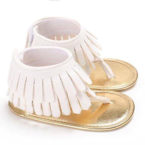 Zapatos Bebe Verano Xinantime Sandalias de Vestir Niña Zapatos Bebe Primeros Pasos Andadores Niñas Zapatos Bebé Aire Libre Borla Sandalias Zapatos de Princesa (6-12 meses, Blanco)