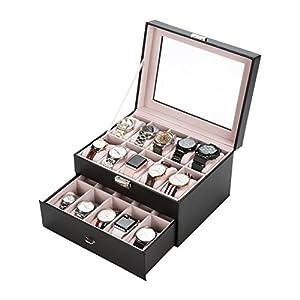 Uhrenbox Uhrenkasten Uhrenschatulle Uhrenkoffer Watch Box Eleganter Speicher Schaukasten PU Leder für 6/20 Uhren Damen Herren schwarz abschließbar