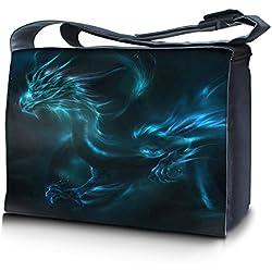 Luxburg® Design bolso bandolera de mensajero, de escuela bolso para portátil ordenadores Laptop Notebook 17,3 pulgadas, motivo: Dragón fantasía