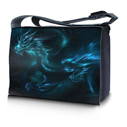 Luxburg® Design Messenger Bag Notebooktasche Umhängetasche für 17,3 Zoll, Motiv: Fantasy Drache