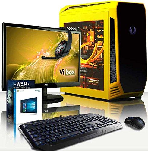 VIBOX Submission Pack 29.35 PC Gamer - 4,2GHz CPU 8-Core AMD FX, GTX 1060, VR prêt, Ordinateur PC de Bureau Gaming avec Watercooling paquet de jeux, avec Écran, Windows 10, Éclairage Interne Jaune (3,3GHz (4,2GHz Turbo) Processeur CPU Huit-Core AMD FX 8300 Ultra Rapide, Carte Graphique Nvidia GeForce GTX 1060 3 Go, 32 Go RAM Team Elite 1600MHz DDR3, SSD 120 Go, Disque Dur 3 To, Refroidissement Liquide Raijintek Triton, PSU 85+, Boîtier Bitfenix Aegis)