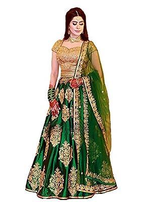 ShreeBalaji Creation Women's Silk Embroidered Lehenga Choli (SBC_L-1, Multicolour, Free Size)