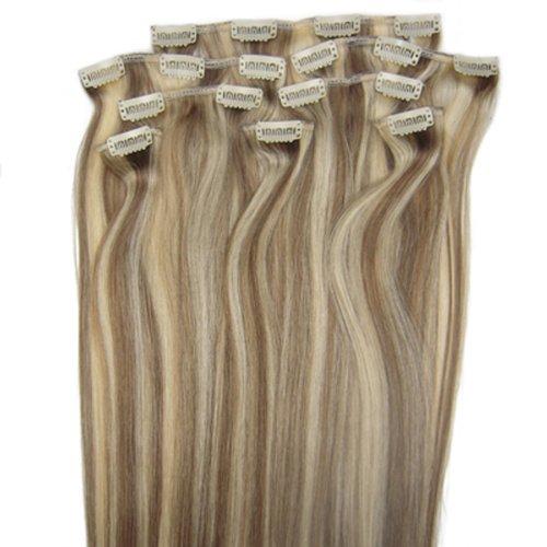 fashionline 38,1 cm Brun/Blond (# 8/613) 100% Remy Hair Lot de 8 extensions capillaires à clipser 100 g poids
