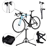 HOMCOM Folding Bike Cycle Bicycle Repair Stand Adjustable Maintenance Aluminium Work Stand with Quick Release and Tool Tray (Bike is not included)