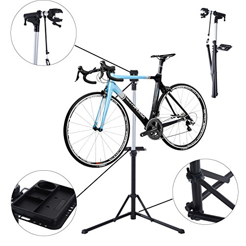 homcom-folding-bike-cycle-bicycle-repair-stand-adjustable-maintenance-aluminium-work-stand-with-quic