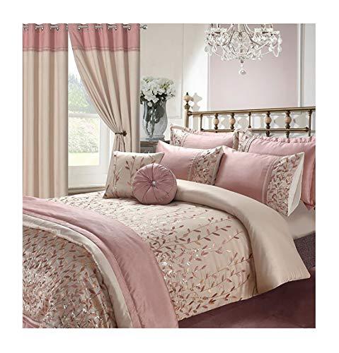 Islander Fashions Luxury Elena Marie Stickerei Bettbezug-Set Passende Vorh�nge wirft Kissen Bettbez�ge Marie Pink Double