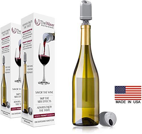 Der Wave Wine Filter & Aerator von PureWine | Schluss mit Weinkopfschmerzen | Entfernt Sulfite UND Histamine By-The-Bottle (2er-Pack)