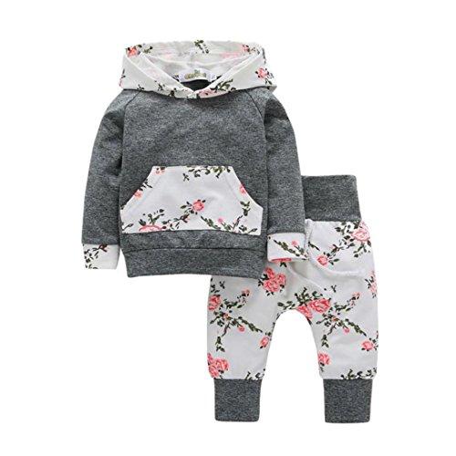 HARRYSTOR 2PCs Kleinkind Baby Mädchen Kleidung Gesetzte Blumen Gedruckte Hoodie Tops + Blumenheftung Hosen Ausstattungen (0-6M, Grau)