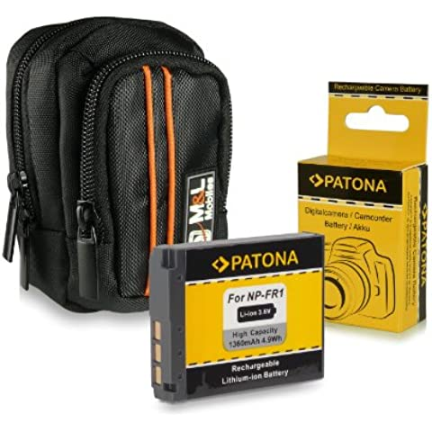 Bundle - M&L Borsa / Custodia per fotocamera - colore: Nero + Batteria NP-FR1 per Sony Cybershot DSC-P200 | P100 | P120 | P150 | T30 | T50