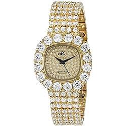 Adee Kaye Bijou Damen Gold Blech Armband Blech Gehäuse Uhr ak26-LG/CR