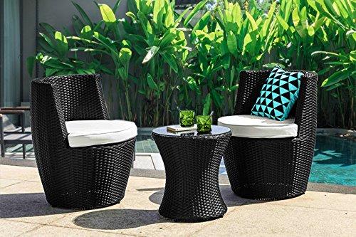 Au jardin de Chloé - - Duo Salon de Jardin en résine tressée Noir-2 fauteuils+1 Table
