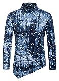 WHATLEES Herren Paisley Langarm Hemden - mit Stehkragen asymmetrischem Design und durchgehendem Print BA0068-navy-M