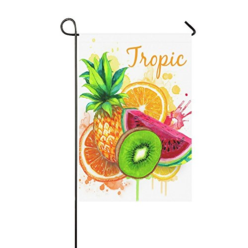interestprint Tropical Fruits Ananas Polyester Garten Flagge Haus Banner 30,5x 45,7cm, Sommer Wassermelone Fahne Deko für Hochzeit Party Yard Home Outdoor Decor