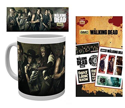 Set: The Walking Dead, Andrew Lincoln Foto-Tasse Kaffeetasse (9x8 cm) Inklusive 1 The Walking Dead Tattoo Pack (17x10 cm) -