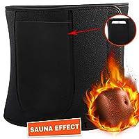 Emooqi Waist Trimmer Belt, Waist Trainer Belt Adjustable Slimming Belt Accelerates Weight Loss &Sauna Effect & Fat Burning Premium Sweat Belt with Portable Mobile Phone Bag for Men & Women Fitness