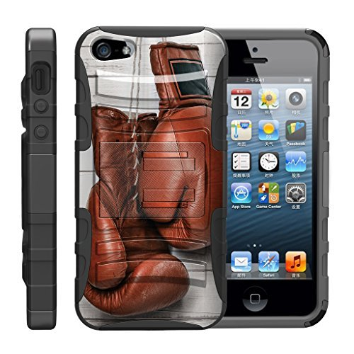 TurtleArmor Schutzhülle für Apple iPhone SE, iPhone 5 / 5S, stoßfest, aus Silikon, mit Ständer, für Sport und Videospiele, Boxing Gloves (Mobile-handys Virgin Iphone 4)