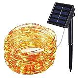 Oria Solar Lichterkette Außenlichterkette Wasserdicht Kupferdraht 100er LED 33ft(10m) IP65 für Hochzeit, Weihnachtsfeier, Weihnachtsbeleuchtung, etc. (Warmweiß)