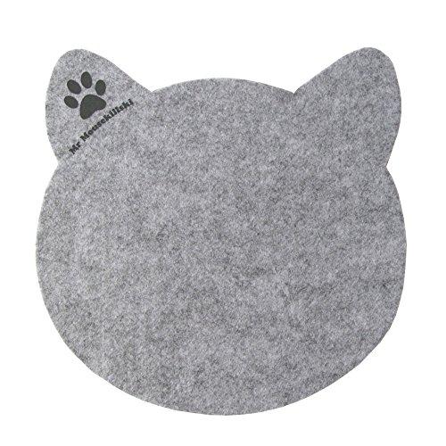 Preisvergleich Produktbild MR MOUSEKILLSKI - stylisches Mousepad aus hochwertigem Filz | perfekt für Katzenliebhaber | vielfältig einsetzbar als originelle Unterlage| hervorragende Anti-Rutsch-Beschichtung | grau-meliert