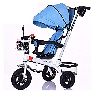 GSDZSY - Children Tricycle Adjustable seat and handlebar, Detachable putter and fence, Adjustable awning, Push rod can control steering, 1-5 years old   14