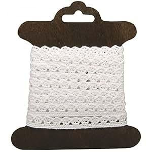 Rayher Hobby 55519102de coton Frise Amanda, 1cm, SB Carte bois 3m, weiãÿ