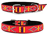Lovely Lauri Strapazierfähiges Nylon Hunde Halsband Native Look Große Hunderassen L XL XXL Bunt Rot L