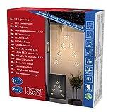 Konstsmide 4043-103 LED Lichtervorhang mit 7 Sternensilhouetten / für Außen (IP44) /  24V Außentrafo / 70 warm weiße Dioden / transparentes Kabel
