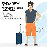 MasterGear - Valise à Roulettes - Bagage à main - Taille Cabine: 55 x 35 x 20 cm - Avec Cadenas - Bleu
